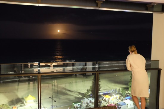 Lovely watching the moon come up over the ocean