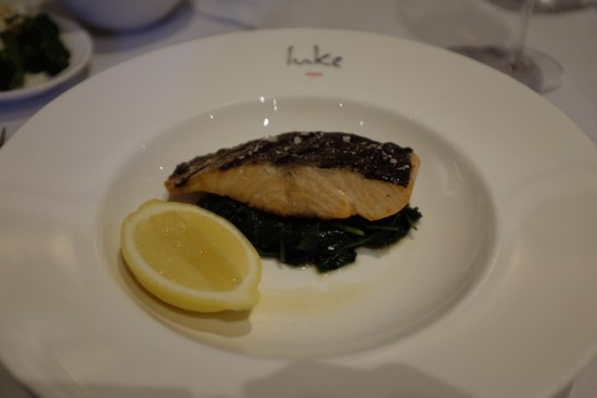 Salmon fillet, grilled with spinach, lemon: $36.00