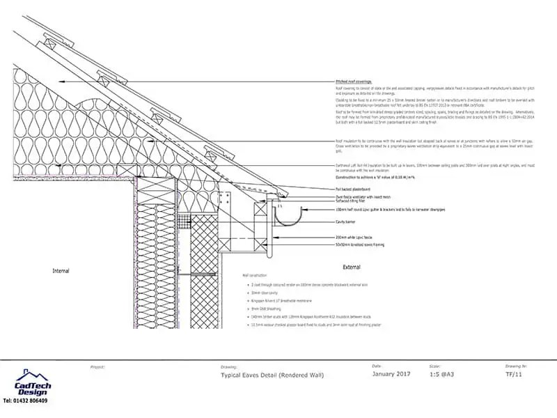 Typical Eaves Detail with Render Wall Finish Drawing