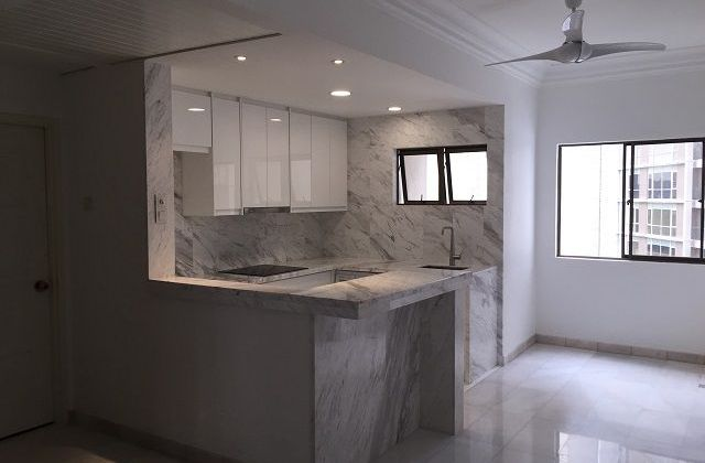 Marble Kitchen with Lighting