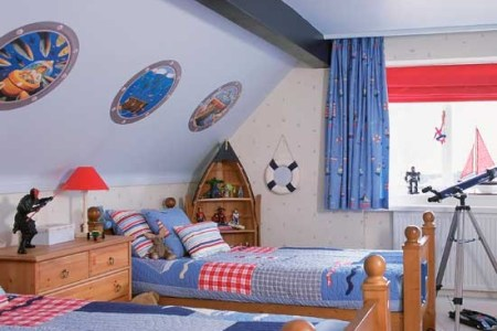 nautical boys' bedrooms with boat shaped shelving | boys