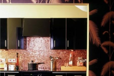 kitchen ideas black and bronze palm print