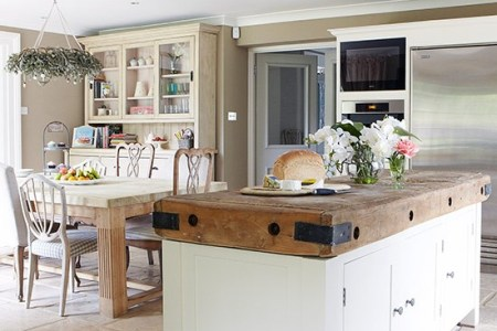 open plan kitchen diner with butchers block unit country homes and interiors housetohome.co.uk