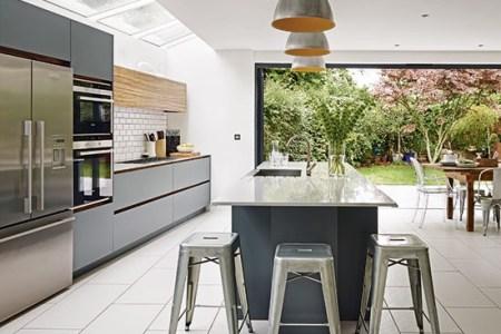 white and grey open plan kitchen