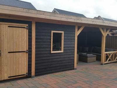 schuur met plat dak houtbouw visser