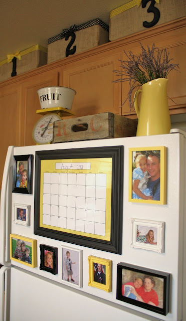 Looks much better than pictures hanging w/ magnets – use dollar store frames, pa