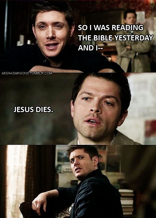 Supernatural|Misha Collins and Jensen Ackles.  Makes me laugh mostly because I h