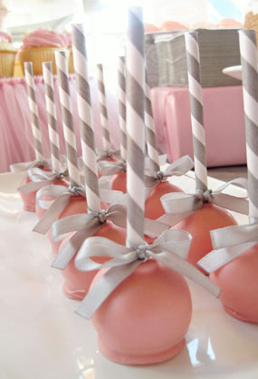 pink grey butterfly ballerina girl baby shower sugar topped cake pops