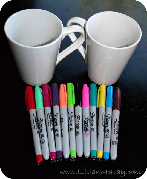 DIY Coffee Mugs = 4 dollar store mugs + sharpies + oven (350 for 30 mins)