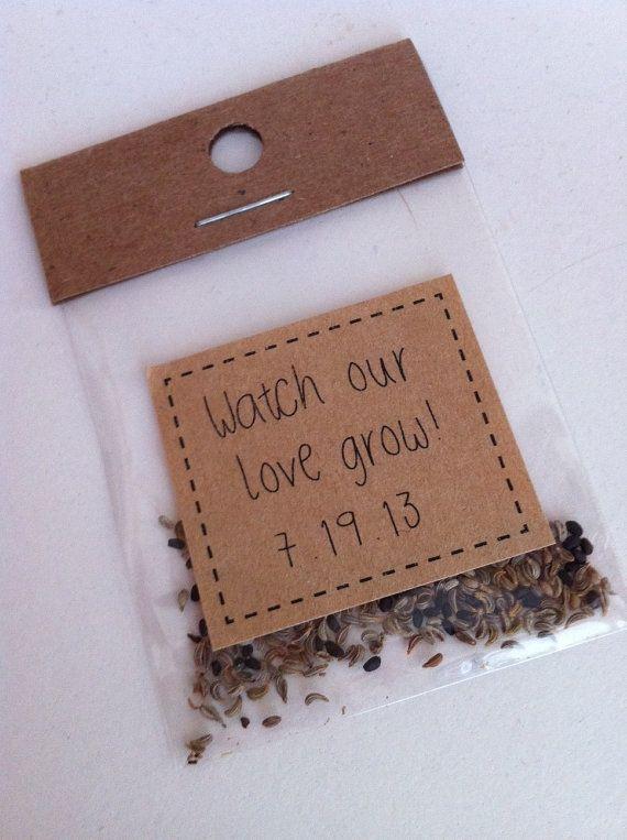 """Cute wedding favor idea: """"Watch our love grow"""" flower seeds."""