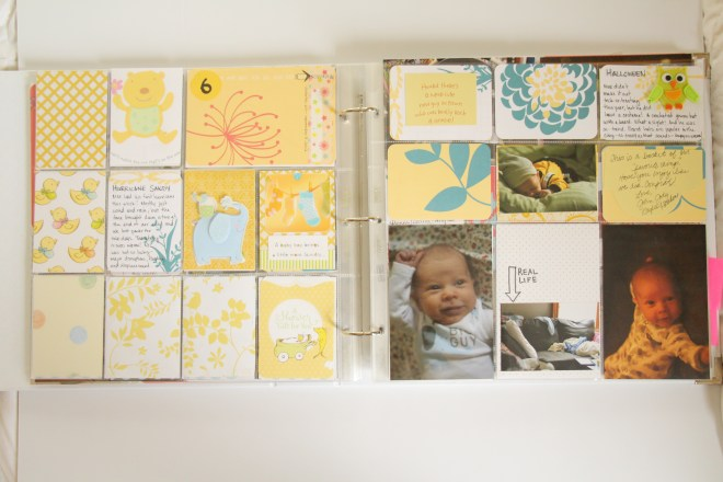 "Incorporate greeting cards, stickers, and other ephemera from your baby shower into your Project Life Baby Album. These cards were made from larger greeting cards, cut to 3""x 4"" and added to pocket pages with the Project Life Cherry Edition 