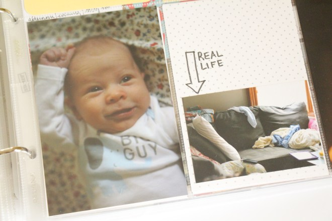 Documenting Real Life with a Newborn | Project Life Baby Album by Project Life CT member Julie Love Gagen