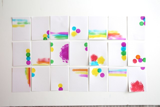 blank project life cards painted with kids dot-a-dot paint