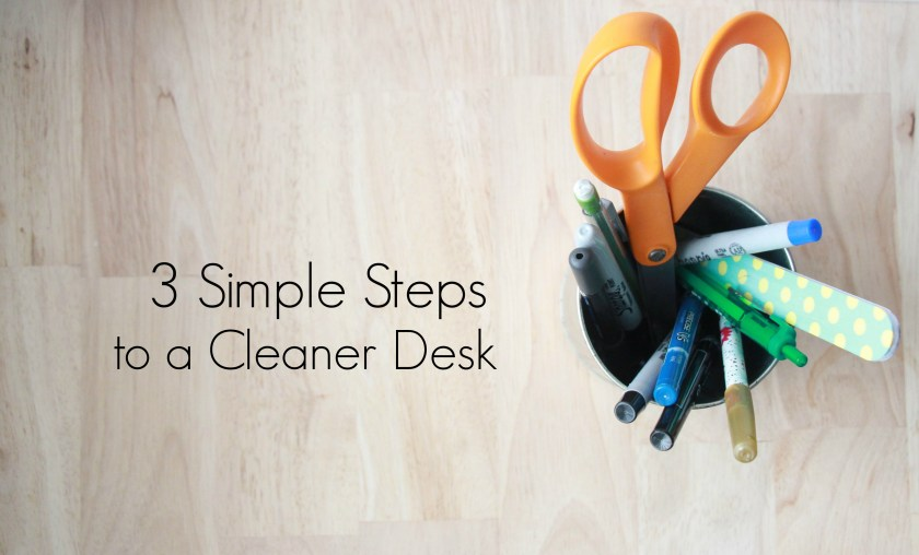3 Simple Steps to a Cleaner Desk | A minimalism challenge Minimize | A Project focused on cleaning out every corner where we collect clutter. For more on this series visit How I Sustain Blog (howisustain.com)