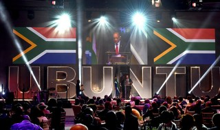 (in the pic - President Jacob Zuma addressing. President Jacob Zuma attends the inaugural UBUNTU Awards hosted by the Department of International Relations and Cooperations held at the Cape town International Convention Centre. 14/02/2015, Elmond Jiyane, DoC