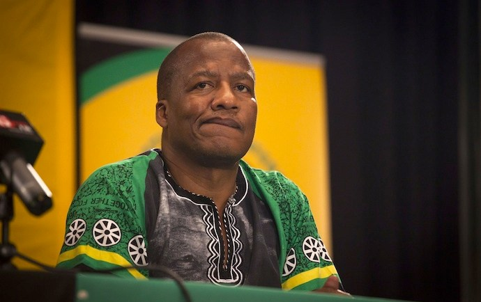 MANGAUNG, SOUTH AFRICA ? DECEMBER 17: (SOUTH AFRICA OUT) ANC spokesperson Jackson Mthembu at a post ANC NEC meeting on the eve of the ANC?s elective conference on December 15, 2012 in Mangaung, South Africa. (Photo by  Daniel Born / The Times / Gallo Images / Getty Images)