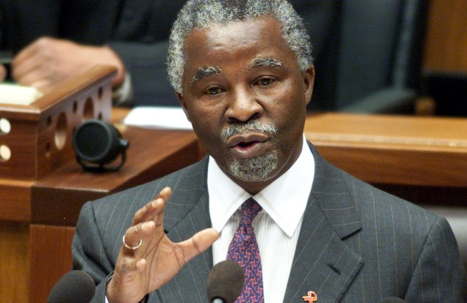 South African President Thabo Mbeki answers questions in Parliament in Cape Town, September 20, 2000. While refusing to recognise the HIV virus as the sole cause of AIDS, Mbeki said that the linkage between them formed the basis of his governments AIDS policy. Mbeki has come under increasing criticism, both internationally and from within the ranks of his alliance partners, the Congress of South African Trade Unions (Cosatu) and the South African Communist Party (SACP), for his stance on the issue.  MH/JRE - RTR8FX5