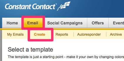 how to create an email template in constant contact