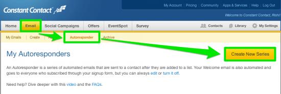 Create a Constant Contact Autoresponder