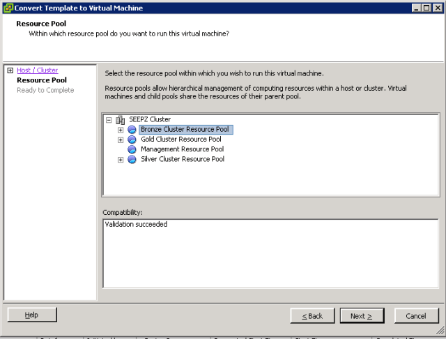 VMware ESXi - Convert Template into VM - Resource Pool