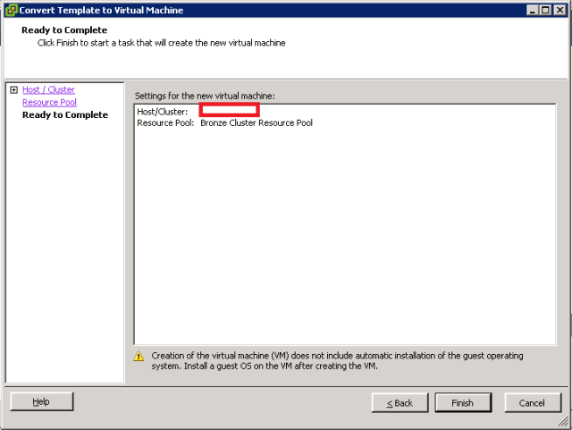 VMware ESXi - Convert Template into VM - Summary