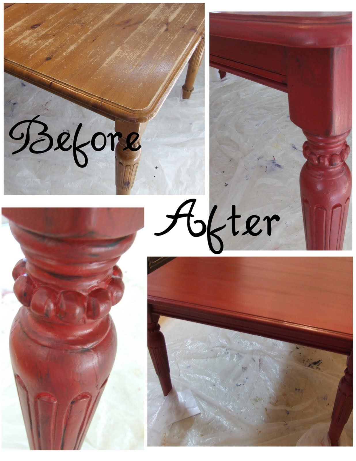 get inspired kitchen table makeovers red kitchen table Painted Kitchen Table from Lemonade