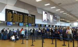 Checking baggage at Lima Airport