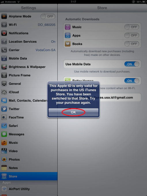 iPhone Press OK (Notification to let You know the account is for a specific Country