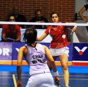 Carolina Marín en pleno juego.