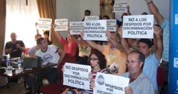 Protesta de los despedidos en Valverde del Camino.