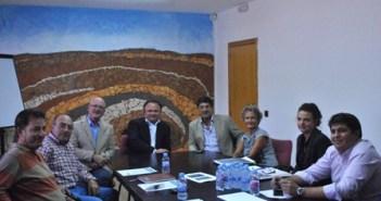 Directivos de Emed Tartessus, Diego Valderas, Pepa Beiras y Marcos Toti.