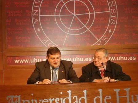 El rector y Rafael Sancho.