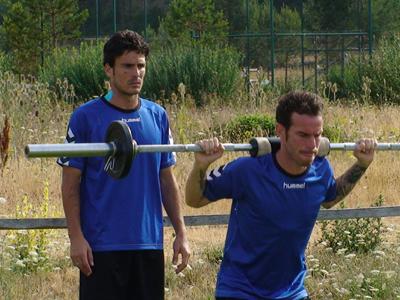 Zamora y Fernando Vega durante un entrenamiento.