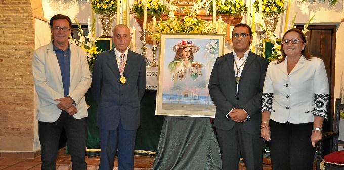 Autor del cartel Juan Vázquez, Hermano Mayor José Gutiérrez, Alcalde de La Redondela Salvador Gómez y Alcaldesa de Isla Cristina María Luisa Faneca.