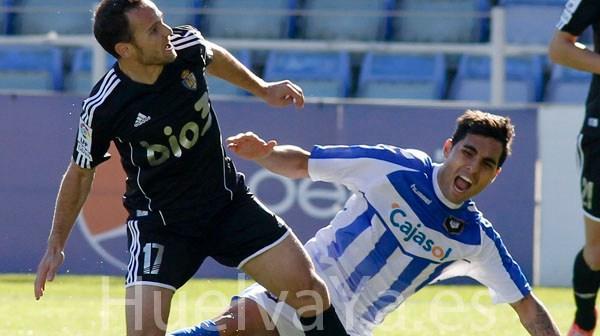 Dimas, en el partido de ida ante la Ponferradina. (J. Pérez)