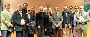 La delegación socialista onubense junto a los europarlamentarios en Bruselas.