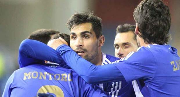 Jugadores del Recreativo celebrando un gol.