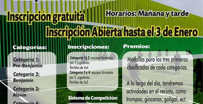 Cartel del torneo de fútbol 3 en San Juan del Puerto.