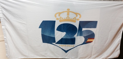 Bandera oficial del 125 aniversario del Recreativo de Huelva.