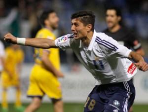 Jesús Vázquez, celebrando uno de los goles ante el Alcorcón. (J. Pérez)