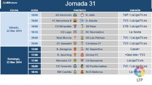 Jornada 31 de Liga en Segunda división.