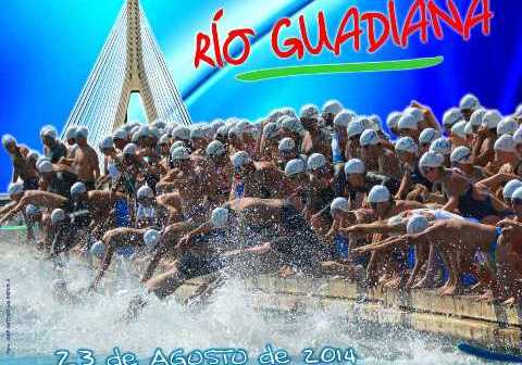 Cartel de la Travesía de natación del río Guadiana.
