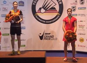 Carolina Marín, en el podium del Open de Alemania.