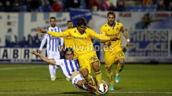 Guichón, autor del gol del Alcorcón ante el Recreativo de Huelva.