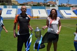Manuela Romero y Antonio Toledo, presidenta y entrenador del Fundación Cajasol Sporting.