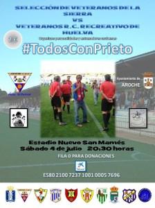 Cartel del partido benéfico en la sierra para José Manuel Prieto.