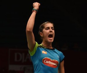 Carolina Marín celebra su pase a semifinales del Mundial.