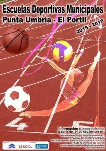 Cartel de las Escuelas Deportivas Municipales en Punta Umbría.