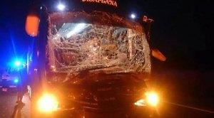 Estado en el que quedó el autobús del Mérida.