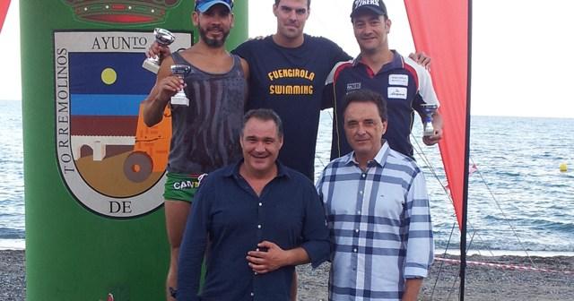 Rubén Gutiérrez, en la travesía a nado de Torremolinos.